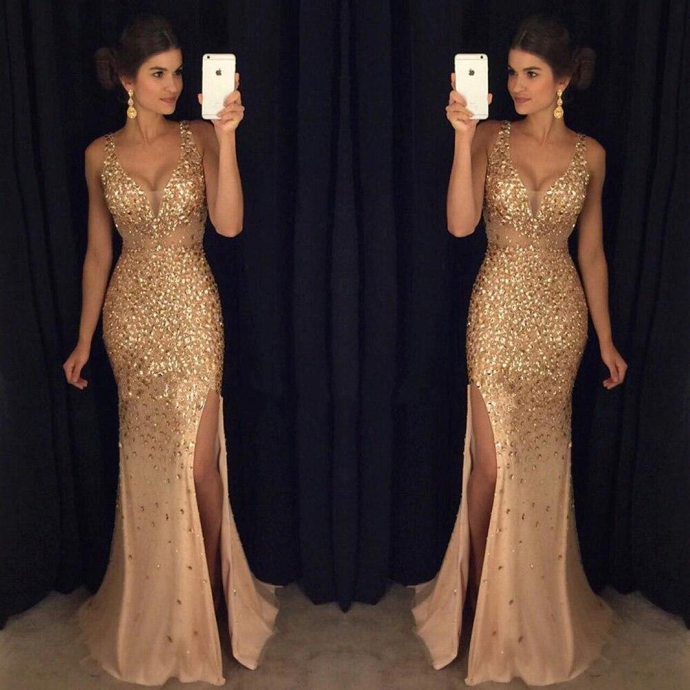 9712942c77 Sexy 2017 Moldeado Pesado V cuello Escarpado Tulle de Hendidura de Noche de  Oro vestidos de Sirena Vestidos de Baile Robe de Soirée Vestido de Fiesta  de ...