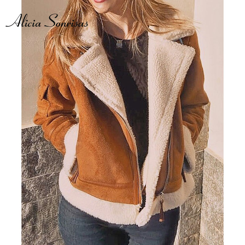 Faux Sheepskin Coat Women Suede Jacket Short Fur Korean Lamb Locomotive Fashion Fur Warm Leather Jacket JS3001