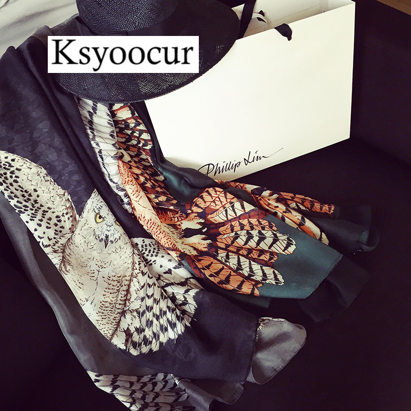 88*192cm , 2019 New Style Women Scarf Pattern Owl Geometric Puzzle Pattern Scarf Shawls and Scarves Brand Scarf Brand Ksyoocur