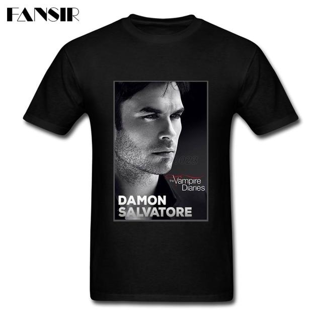 44b55283cb6722 Plus Size Damon Salvatore The Vampire Diaries Plain Tshirts Man Short  Sleeve Cotton Custom Men T Shirts Family Clothes Tops