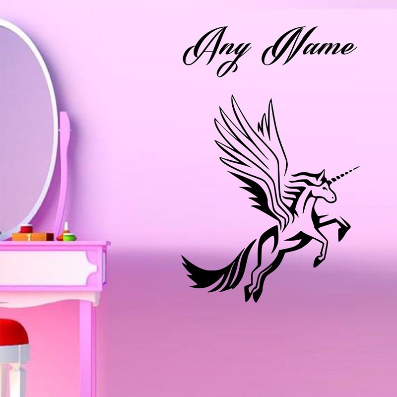 Personalised Unicorn With Wings Vinyl Wall Sticker Any Name Kids Art Decal 2 Sizes In Stickers From Home Garden On Aliexpress