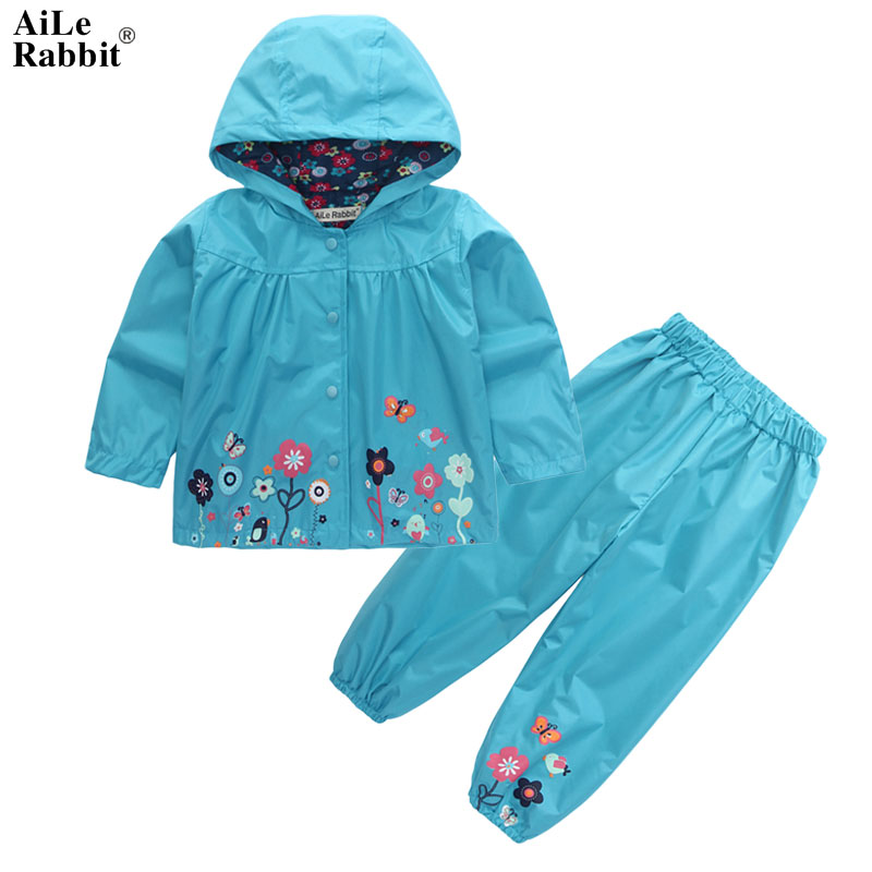 AiLe Rabbit Kids Fashion Suits Outfit Hoodie Pants 2pcs Jacket Sports Set Flower Print Girl Windbreaker Raincoat Camping k1