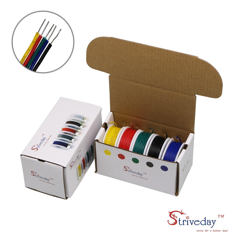 20 22 24 26 AWG raccorder le fil 1007 PVC solide fil Kit boîte fil électrique 20-26 jauge 300V câble (19.6ft chaque couleur)