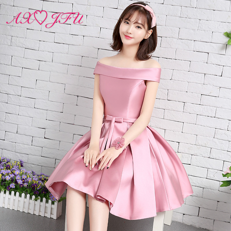 AXJFU Word shoulder pink   evening     dress   short bow   evening     Dress   new sisters satin   evening     dress   graduation dinner party