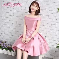b376143732f Word Shoulder Pink Evening Dress Short Bow Evening Dress New Sisters Satin Evening  Dress Graduation Dinner