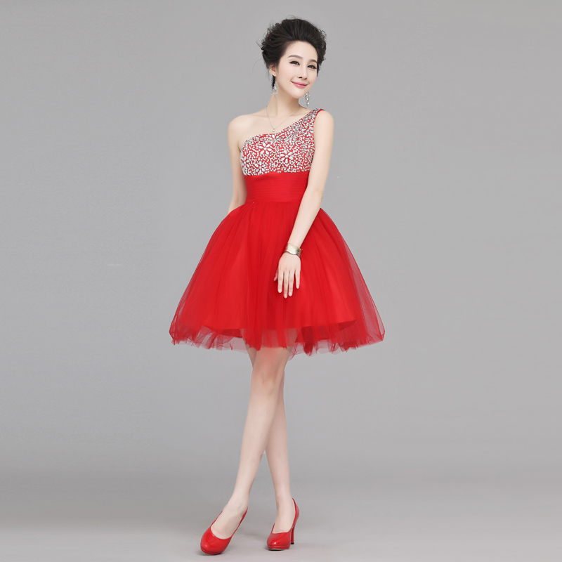 Red Short Wedding Dresses: 2016 Hot Sell One Shoulder Homecoming Dress Wedding Party