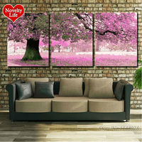 40x50cmx3pc No Frame Pictures Painting By Numbers DIY Handmade Digital Oil Painting Cherry Blossoms Trees Home
