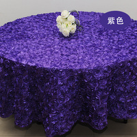 Purple 3D Rose Flower Tablecloths Wedding Round Table Cloth Overlays Wedding Decoration Banquet Party Table Cover 2.6M/102