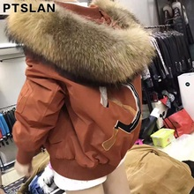 Ptslan Luxury Women Brand Big Real Nature Raccoon Fur Collar Hooded Fur Coat Long Winter Fox