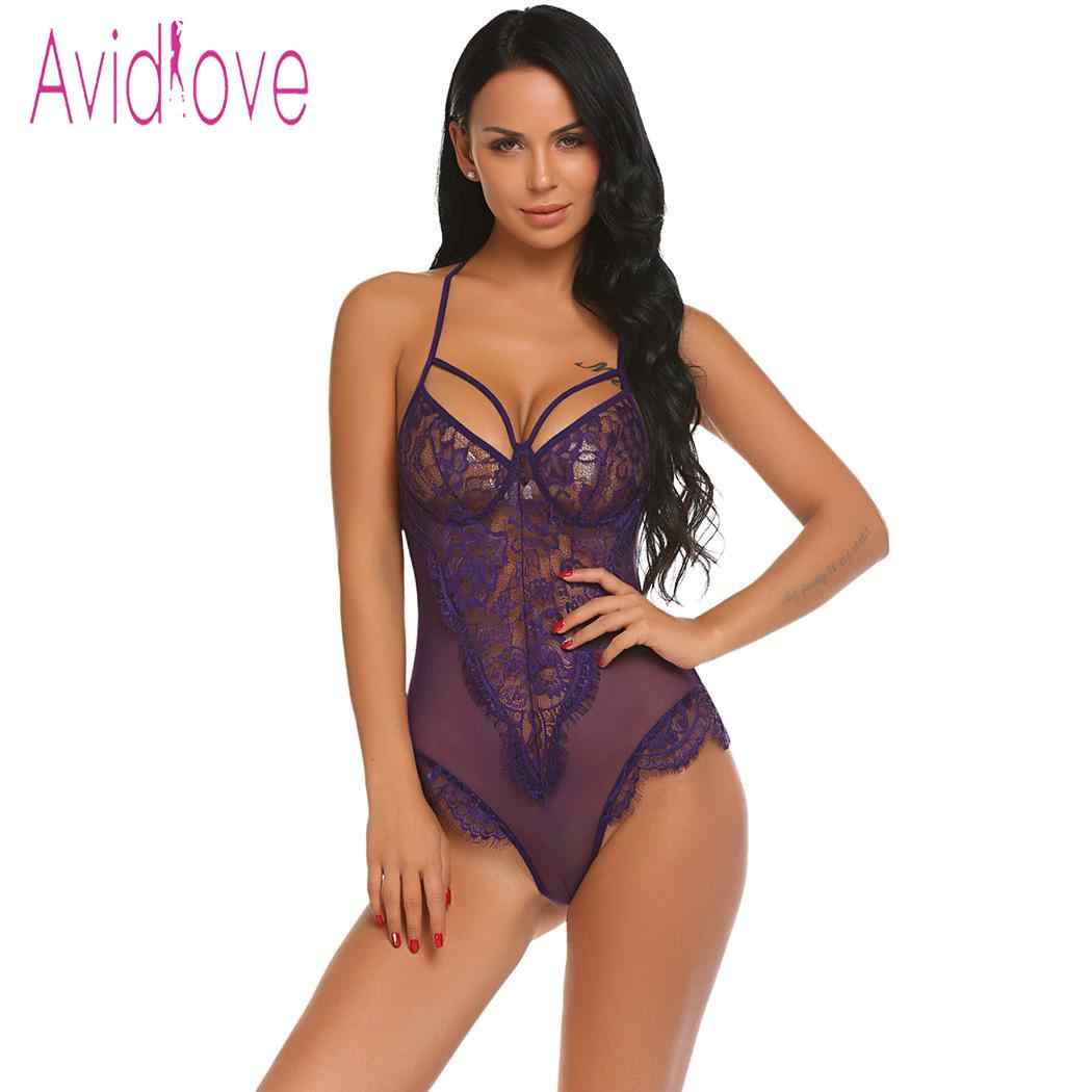 6f653fe629d ... Avidlove Women Bodystocking Sexy Costumes Lingerie Hot Erotic Bodysuit  Halter Sheer Floral Lace One Piece Teddy ...