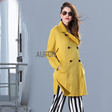 Women Wool Parka Coat Suit Collar Bright Solid Colour Double Breasted Overcoat with Sash Classic Autumn Winter Outwear AU00547