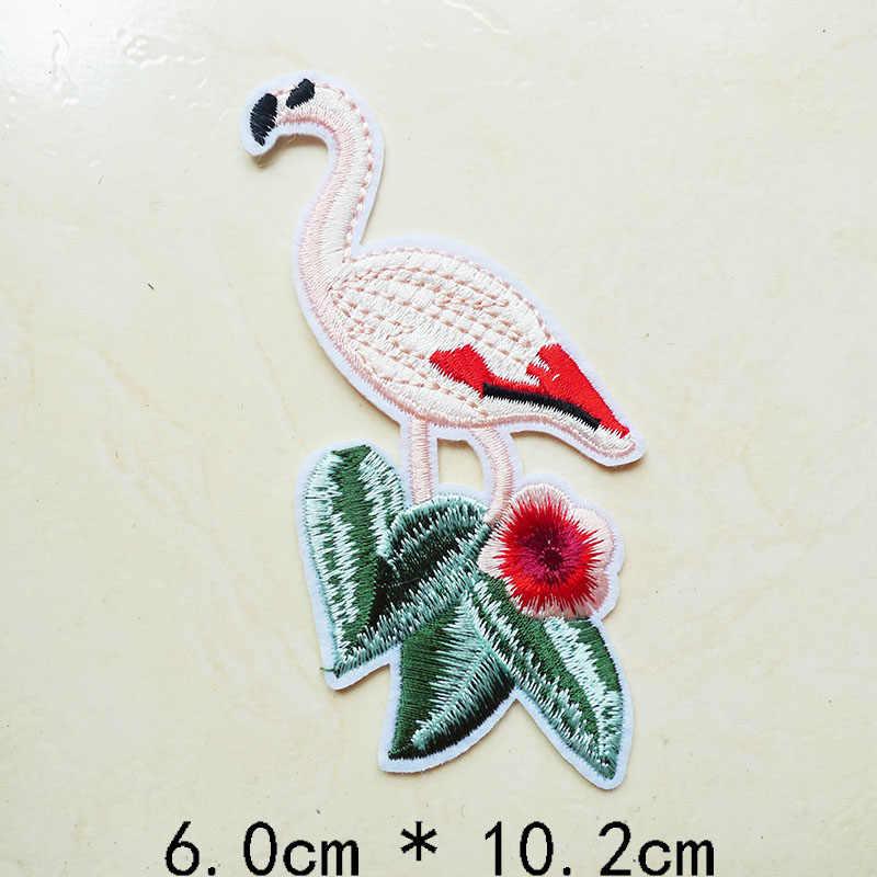 1 шт. Фламинго животные птицы вышивка в полоску аппликация железные нашивки для одежды джинсы шитье Значки для платья аксессуары