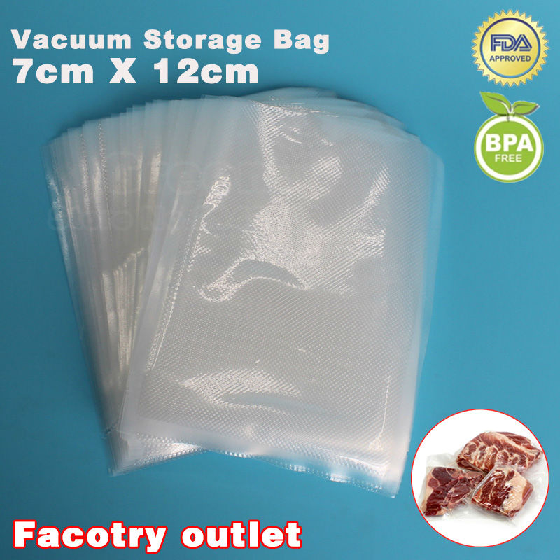 7cm x 12cm 50PCS  KitchenBoss PE Vacuum Food Saving Storage Bags Sealing Sealer Packaging Film Keeps Fresh up to 6x Longer 50 pcs crystal clear cello bags 39 5 cm x 45cm self adhesive opp cellophane bags