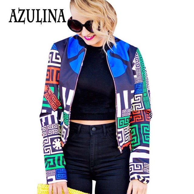 AZULINA Harajuku 2017 Spring Autumn Geometric Print Women Bomber Jacket Coat Ladies Casual Zipper Short Baseball Jacket Femme