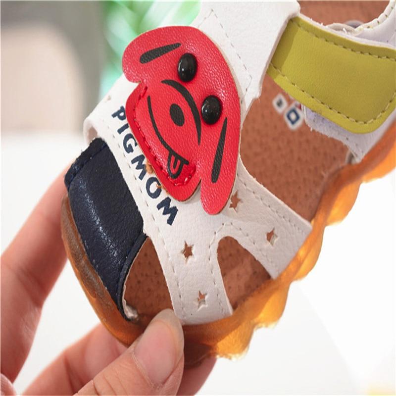 Summer Shoes Boys Soft Cartoon Dog Sandals Baby Boys Summer Soft Leather Beach Sandals Cherryb