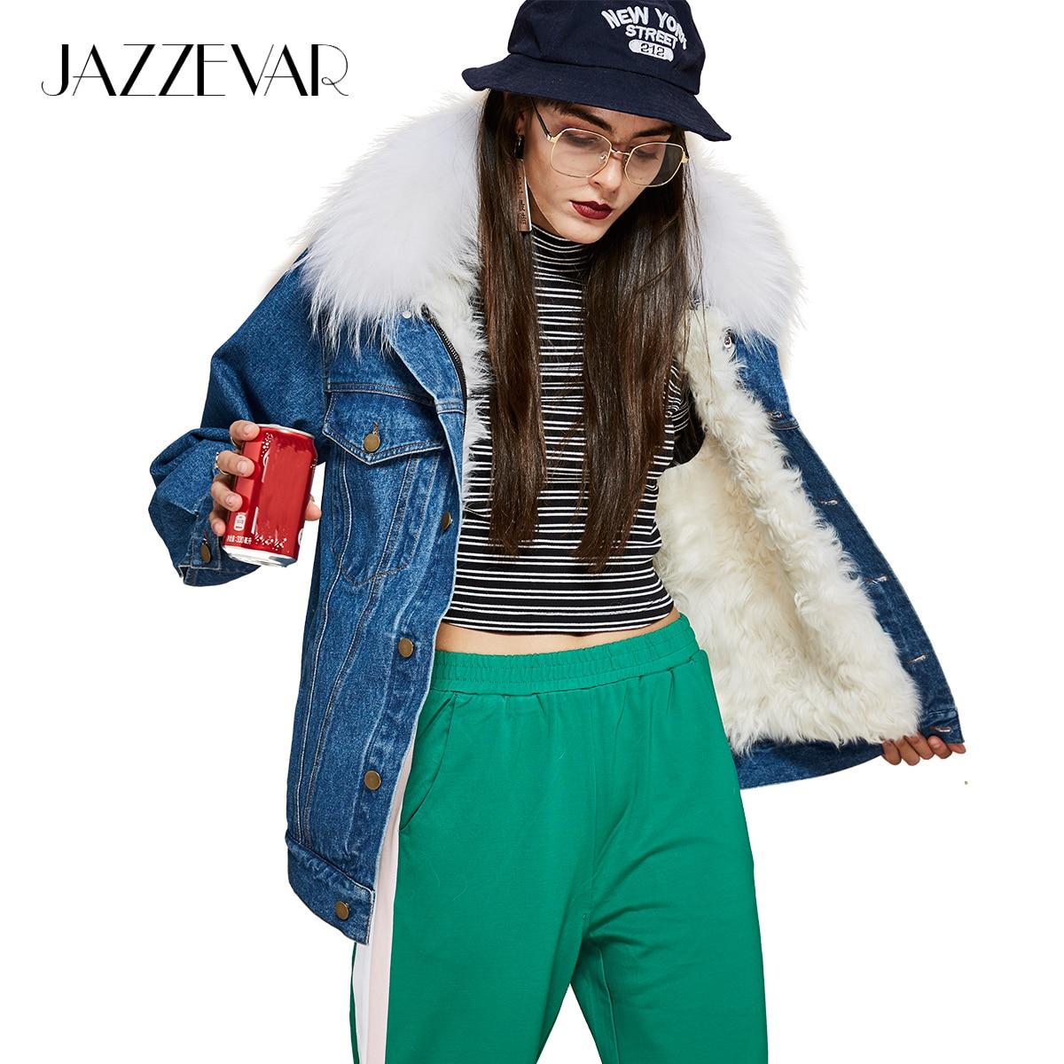 JAZZEVAR Новые уличной моды женская джинсовая куртка настоящий корабль Мех Лайнер енота меховым воротником Зимняя Куртка Свободная одежда