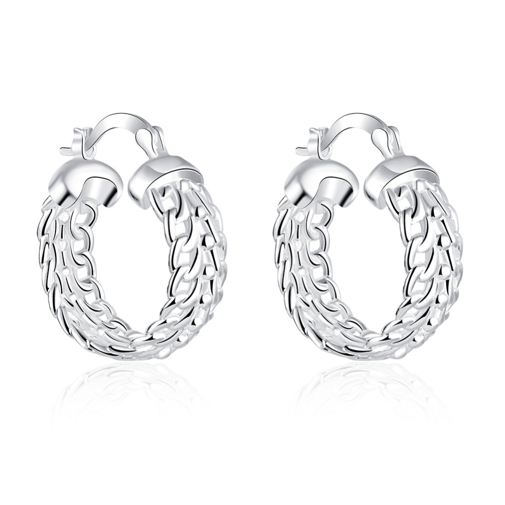 GIEMI Original 925 Sterling Silver Classic Basketball Circle Hoop Earring Fashion Jewelry For Woman Engagement Free Shipping