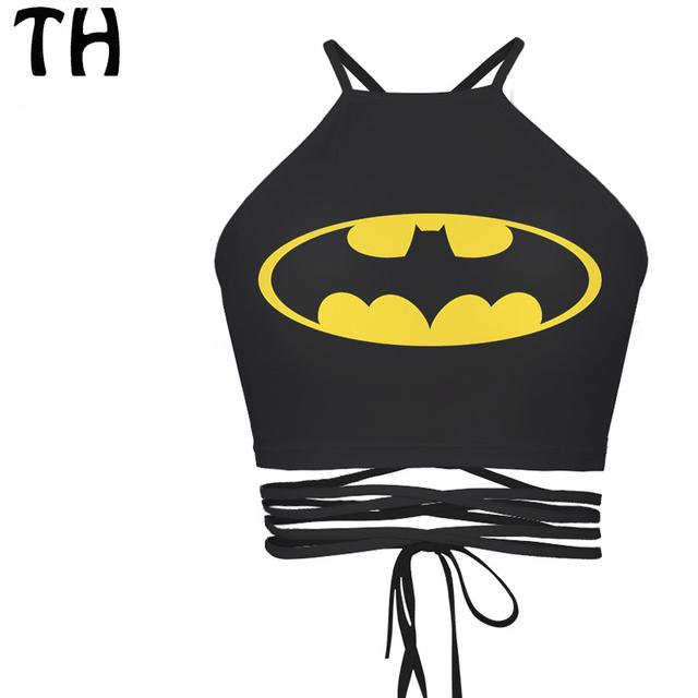 2016 Batman Emoji Regatas Mulheres Bandage Verão Dos Desenhos Animados Topos de Culturas Sem Encosto Sexy Veste Femme Bralettes Camisole Feminino #160914 M