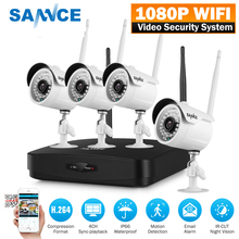 SANNCE 4CH 1080P Wireless NVR Kit 4pcs 1080P 2mp Wifi IP Camera IR-CUT IP66 CCTV Camera home Security System Surveillance Kits