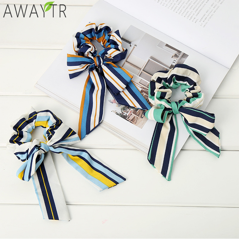 Fashion   Headwear   Bow Elastic Scrunchie Stripe Hair Bands Elegant Girl Hair Ties Bands Solid Hendband of Women Hair Accessories