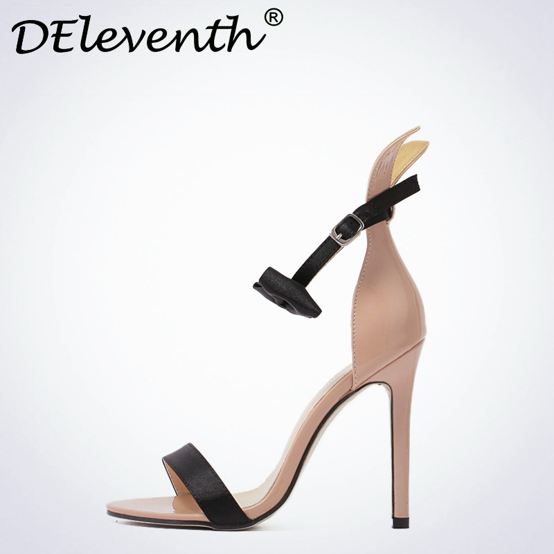 2017 Summer New Brand Fashion Sweet Shoes Bowties Ribbit Peep Toe Stiletto High Heels Ankle Strap Women Sandals Party Shoes Nude new 2017 spring summer women shoes pointed toe high quality brand fashion womens flats ladies plus size 41 sweet flock t179