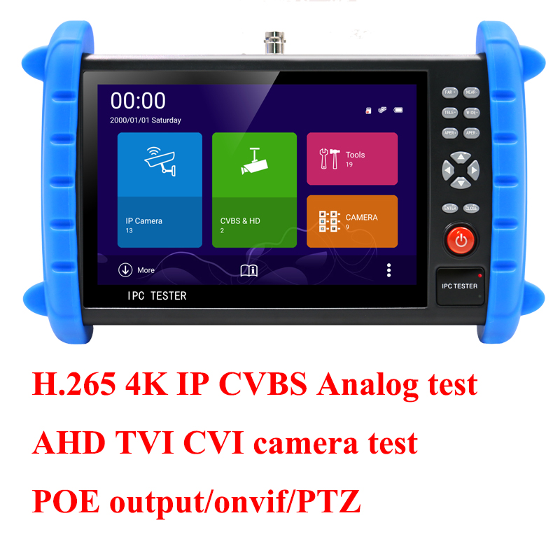 7 inch touch screen H.265 H.264 4K AHD TVI CVI IP camera tester Analog CCTV Tester CVBS test monitor onvif POE output ips touch screen cvbs ahd dahua cvi tvi sdi ip cameras analog cctv camera tester