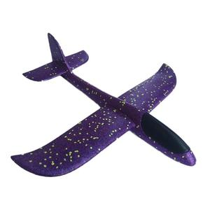 48cm LED Light Airplane Toys Aircraft Kids DIY Hand Throw Flying Glider Plane Glow In The Dark Toys for Children Foam Airplane