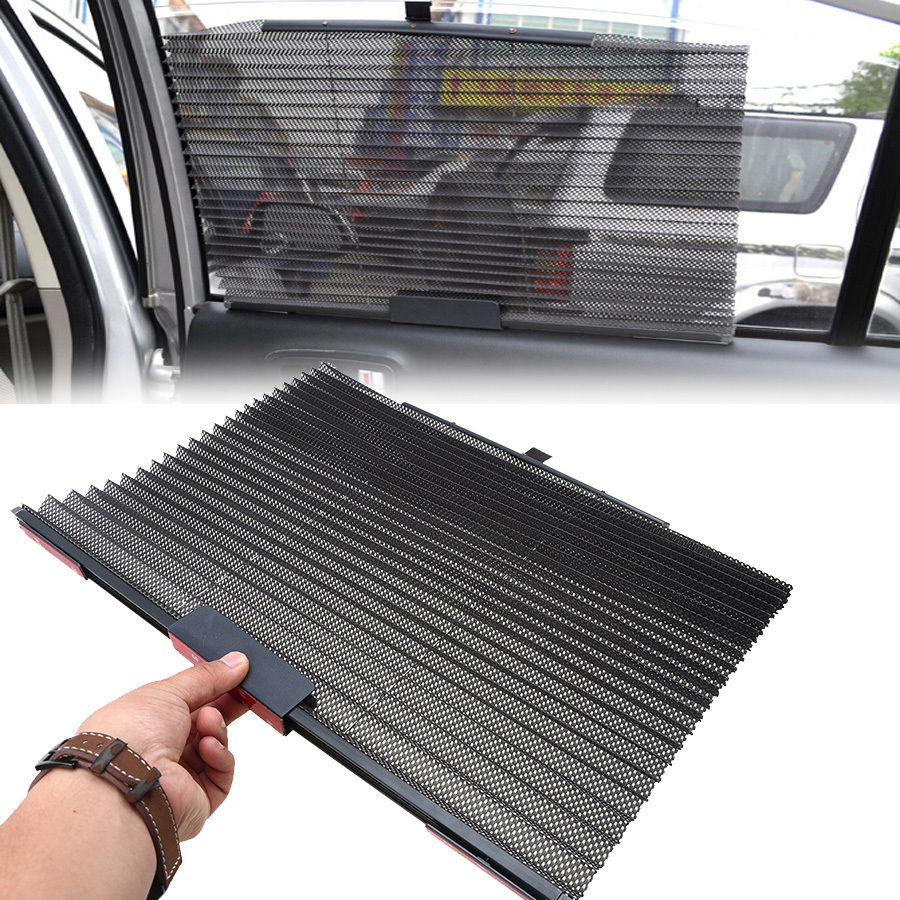 universal 1pcs black car side window sun shade mesh cover visor shield windshield retractable. Black Bedroom Furniture Sets. Home Design Ideas