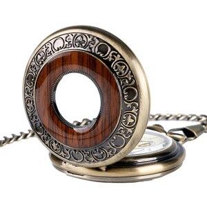 Image 4 - Funda hueca de bronce Retro, Número romano, mano esqueleto, viento, Mehanical, relojes de bolsillo con cadena, Reloj de bolsillo