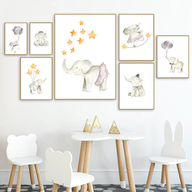 Animals Elephant star Balloon Nursery Art Print Wall Art