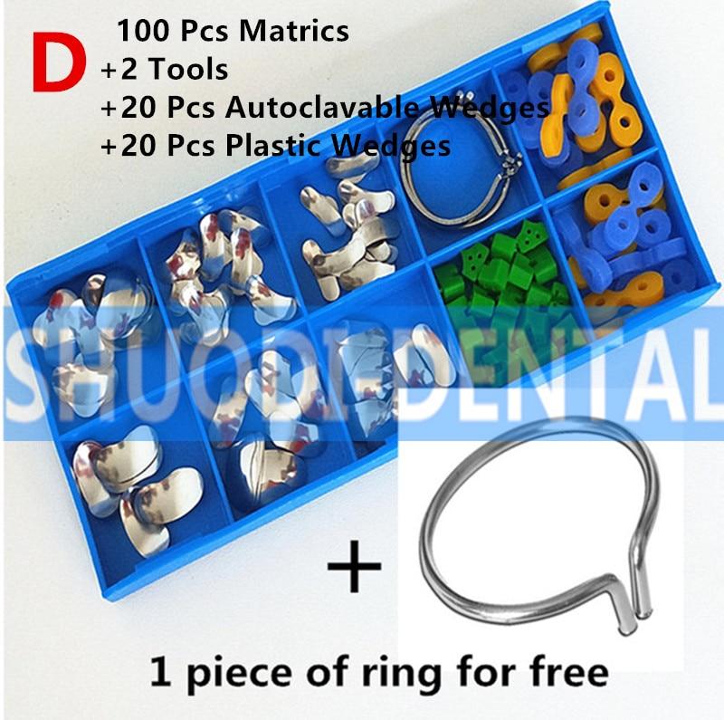 100Pcs/Set with 20 pcs Plastic Wedge & 20 pcs Autoclavable Wedge Sectional Contoured Matrices Matrix Ring Delta Wedges