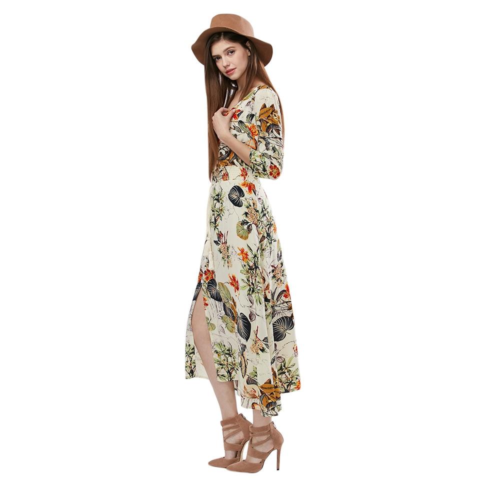 VESTLINDA Vintage Dress Allover Floral Print Elestic Waist Split Long Dress V Neck 34 Sleeve Robe Femme Women 2017 Summer Dress 05
