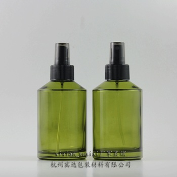 200ml round green travel refillable perfume bottle with black plastic atomiser spray/mist, glass 200ml perfume container 200ml