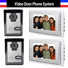 2-Camera 2-Monitor 7 inch monitor video door phone intercom System IR Night Vision Camera Video doorbell Kit