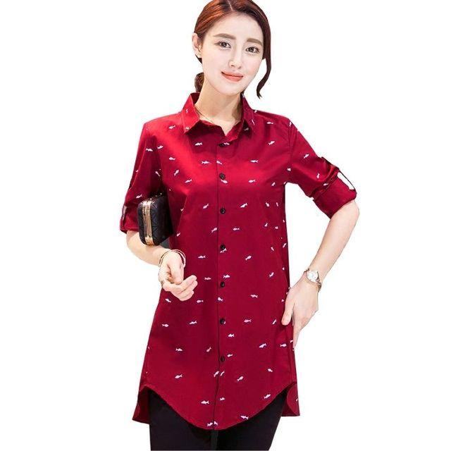 c507def29c3 Spring Casual New Cotton Blend Fish Print Red Ladies Shirts For Girls Long  Navy Blue Long-sleeve Plus Size Loose Shirt Tops 4XL