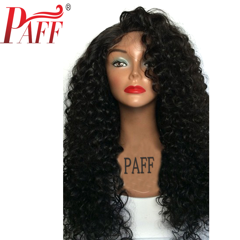 PAFF 250% Density Curly Lace Front Human Hair Wig With Baby Hair Brazilian Remy Hair Wig Free Part Natural Hairline For Women