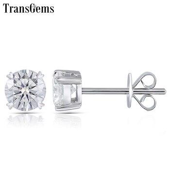 Transgems Moissanite Stud Earring Genuine Solid 14K White Gold FG Color Moissanite Diamond Center 0.25ct 0.5ct 0.8ct 1ct 2ct