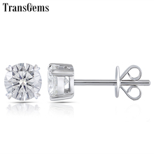 Transgems Moissanite Stud Earring Genuine Solid 14K White Gold FG Color Diamond Center 0.25ct 0.5ct 0.8ct 1ct 2ct