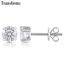 ebefc9aa70a8 Transgems anillo pendiente genuino sólido 14 K de oro blanco FG Color  Moissanite diamante 0.25ct 0.5ct 0.8ct 1ct 2ct