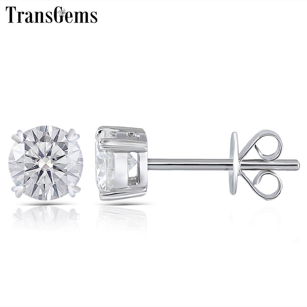 Transgems Moissanite boucle d'oreille goujon Véritable Solide 14 K Blanc Or FG Couleur Moissanite Diamant Center 0.25ct 0.5ct 0.8ct 1ct 2ct