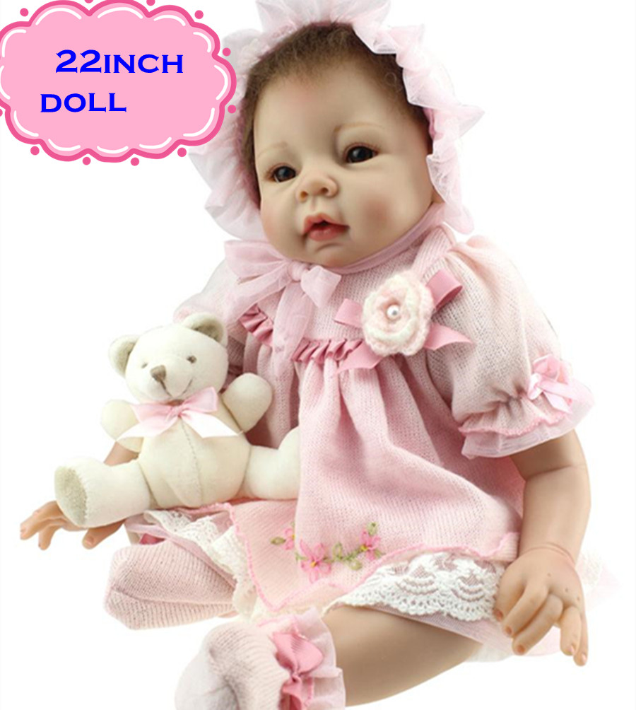 2017 New Pretty NPK Silicone Reborn Baby Dolls About 22inch/55cm For Kids Charming Play Baby Doll Brinquedos For Sale ободки pretty mania ободок