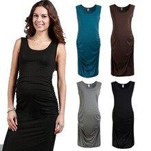 Summer Maternity Dresses Elastic High Waist Sleeveless Vest Dress Pregnancy Clothing Maternity Clothes For Pregnant Women