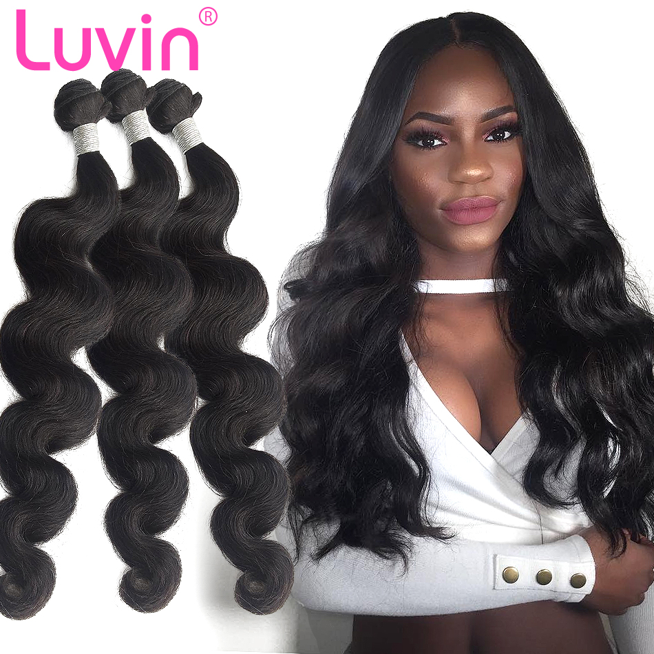 Luvin cabelo brasileiro tecer pacotes 100% cabelo humano onda do corpo remy trama extensões de cabelo cor natural 30 40 Polegada duplo desenhado