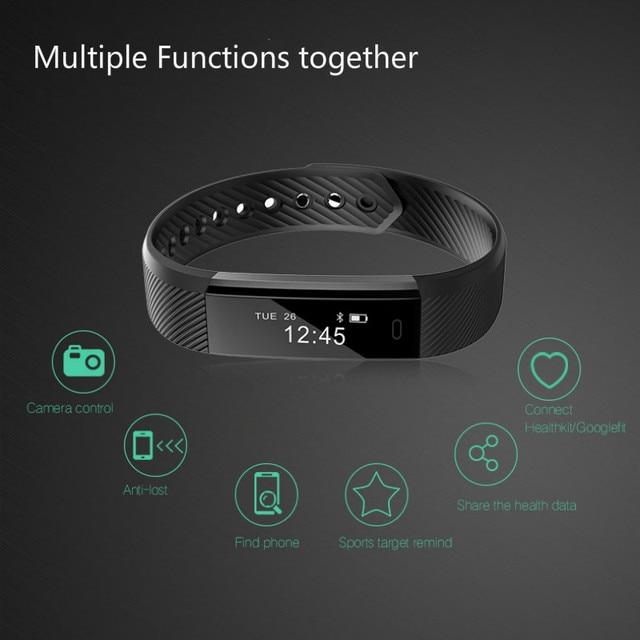 Bluetooth スマート歩数計睡眠トラッカーためケットボールリストバンドスポーツフィットネストラッカー腕章コールリマインダリモコンソーシャルメディア