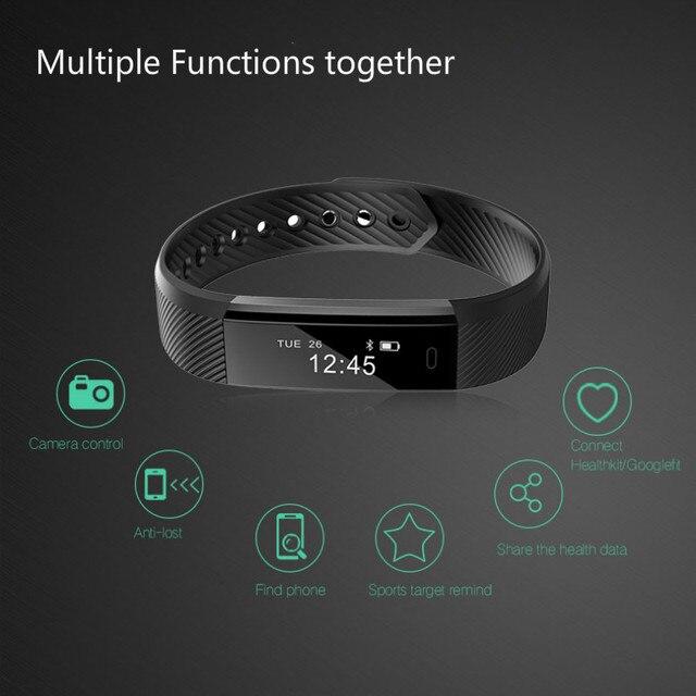 บลูทูธสมาร์ทสายรัดข้อมือกีฬา fitness tracker armband สำหรับ Pedometer Sleep Tracker Call Reminder รีโมทคอนโทรล Social Media