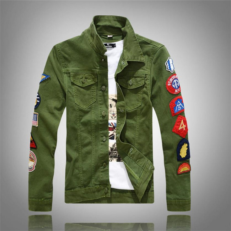 2018 New Mens Denim Jackets With Patches Slim Fit Jean Jacket For Men Size Green White Turn Down Collar coat