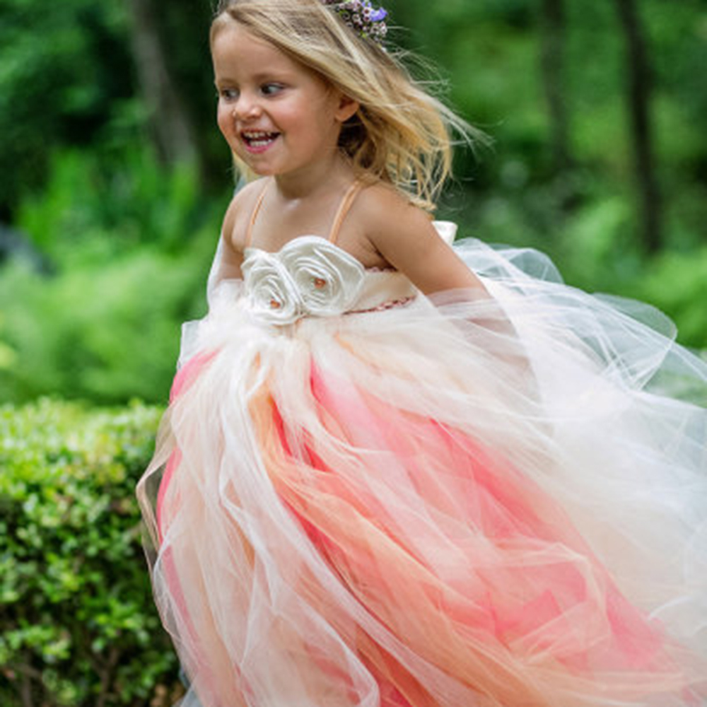 Newest Cute Peach Coral Flower Wedding Girls Dress with Satin Flower Sash Peach Champange Ivory Girl Tutu Dress For Birthday шина pirelli winter snowcontrol serie iii 165 65 r14 79t