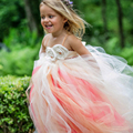 Newest Cute Peach Coral Flower Wedding Girls Dress with Satin Flower Sash Peach Champange Ivory Girl Tutu Dress For Birthday