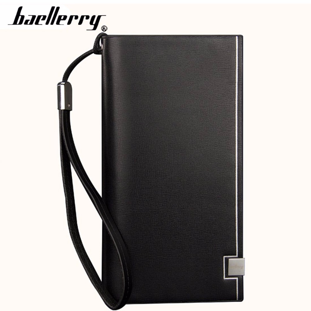 Baellerry Classic Men Wallets Long PU Leather Cell Phone Pocket Black Luxury Wallet For Men Business Top Quality Men Purse