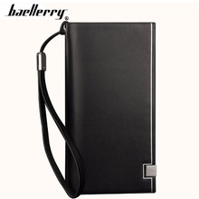 Baellerry Classic Men Wallets Long PU Leather Cell font b Phone b font Pocket Black Luxury